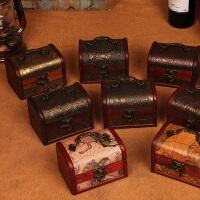 复古木盒子桌面整理首饰收纳盒首饰盒道具
