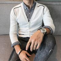 撞色修身针织衫男士开衫毛衣青年潮流休闲外套男
