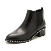 D:Fuse/迪芙斯冬季圆头粗跟中跟时装短靴DF84116043