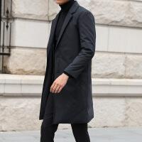 羽绒服男中长款2018冬季新款潮流帅气韩版修身风衣外套过膝大衣