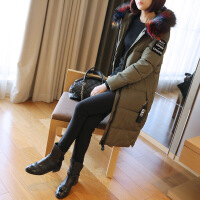 大毛领羽绒女中长款2017新款修身显瘦韩版棉衣棉袄冬季外套潮