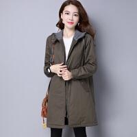 棉袄女2018女装冬季韩版中长款棉衣休闲百搭宽松连帽外套