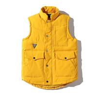 新款羽绒棉马甲男秋冬季韩版潮流坎肩黄色帅气马夹大口袋上衣