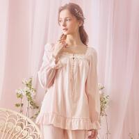 纯棉睡衣女秋季公主宫廷长袖蕾丝女士可爱家居服套装韩版