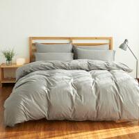四件套纯色磨毛秋冬季床上用品1.5/1.8/2.0m米床单被套宿舍三件套 灰色 纯银灰