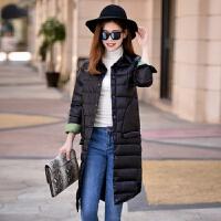秋装女装轻便款羽绒服长款过膝衬衫领韩版上衣外套
