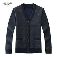 季中老年男士羊毛衫开衫中年男v领毛衣外套老年人羊绒衫