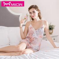 猫人夏季新款吊带V形性感女士睡衣 吸湿透气睡衣套装 性感妩媚家居服