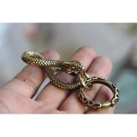 复古养牛创意手工铜十二生肖盘蛇钥匙扣黄铜蟒蛇皮带挂扣铜吊坠