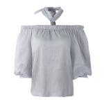 2018夏装新款女装一字领挂脖韩版宽松套头上衣性感气质衬衫雪纺衫