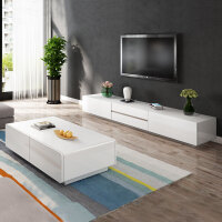 电视柜茶几组合现代简约 欧式白色烤漆经济型电视机柜客厅小户型