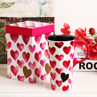 Evergreen爱屋格林美式创意马克杯水杯可爱陶瓷杯礼盒装咖啡杯大容量杯子单手推盖配同款花色礼盒