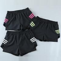 运动短裤女假两件速干宽松夏季防走光跑步训练瑜伽健身三分裤透气