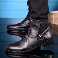 CUM 潮牌秋冬季男靴英伦皮靴高帮尖头马丁靴内增高铆钉中筒靴侧拉链套筒靴