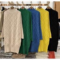 过膝长款毛衣套头加厚打底衫韩版针织衫菱格钉珠半高领毛衣裙0.65