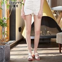 2018夏季新款女装 高腰白色纯棉磨破洞毛边休闲牛仔裤短裤热裤