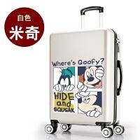 卡通可爱拉杆箱大学生行李箱小清新旅行箱韩版密码箱少女生皮箱潮 乳白色 白米奇