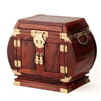 红木首饰盒带锁 大红酸枝木质手饰品收纳盒 实木雕结婚嫁妆礼品