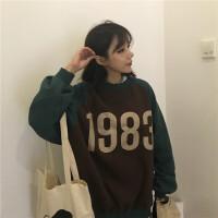 秋冬韩版中长款加厚撞色印花长袖上衣百搭bf风套头卫衣外套女学生