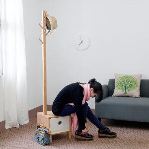 【每满100-50】幽咸家居 家居用品实木落地衣架带换鞋凳收纳凳落地衣帽架