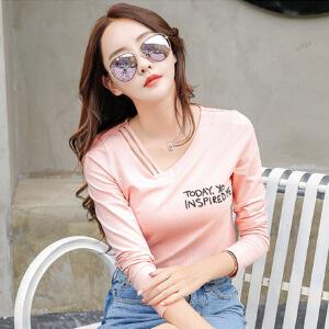 长袖T恤女秋装打底衫秋季新款女装时尚t恤V领显瘦棉质体恤女