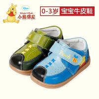 迪士尼小熊维尼学步鞋2017年春秋牛皮拼接0-3岁男宝宝休闲小皮鞋