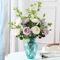 欧式玫瑰花套装绢花假花玻璃花瓶插花家居装饰品客厅餐桌花摆件