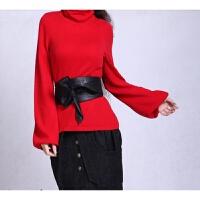 阿卡女装秋冬女士堆堆领羊绒衫高领泡泡袖毛衣打底衫韩版羊毛针织 大红 短泡袖