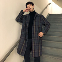 中长款风衣男2018新款外套ins学院英伦风呢子大衣帅气潮牌韩版潮