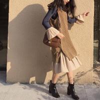 韩版春装女装中长裙背心裙+喇叭袖荷叶边下摆连衣裙气质两件套装