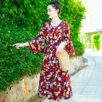 夏季新品女装系带宽松中长裙子雪纺连衣裙波西米亚海边沙滩裙 图片色XZB658