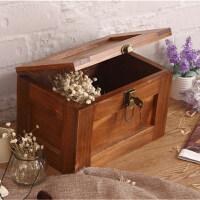 大号做旧木箱储物箱带锁的盒子创意整理木制大容量有盖装书收纳盒 特大40*30*24 cm