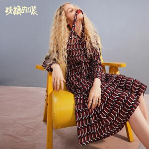 【低至1折起】妖精的口袋Y连衣裙女夏2018新款韩版中长款裙子印花气质秋装长裙