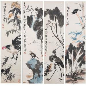 C156李苦禅款(附出版) 花鸟四屏