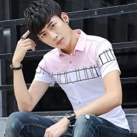 短袖衬衫男修身韩版夏季新款潮流百搭休闲帅气薄款半袖衬衣男