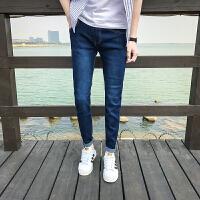 新款紧身牛仔裤潮男小脚裤修身青少年26小码韩版显瘦蓝色弹力学生