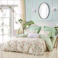水星家纺全棉斜纹印花四件套 夏沫之晨 纯棉床单被套床品1.5米床