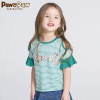 【3件3折 到手价:107】Pawinpaw卡通小熊童装夏款女童圆领条纹T恤露肩短袖可爱