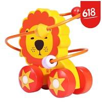 费雪 Fisher-Price 全家欢 儿童早教木制玩具绕珠迷你串珠架绕珠推
