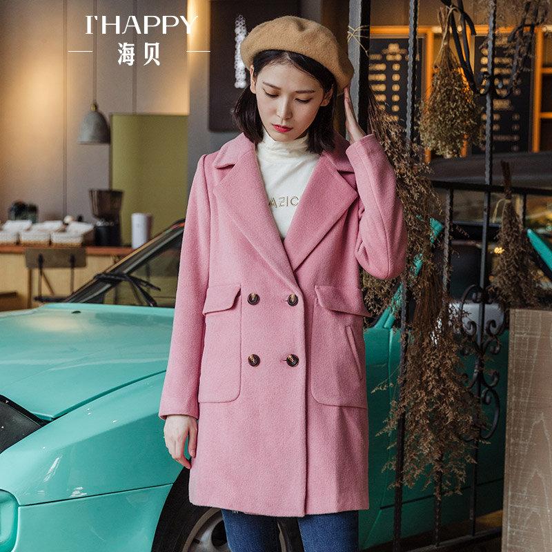 海贝2017冬季新款女装外套西装领双排扣长袖休闲中长款羊毛呢大衣