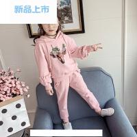 童装女童卫衣套装2017春装新款韩版中大童儿童春季运动休闲两件套