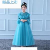 晚礼服女童公主裙中大童花童蓬蓬纱裙小主持人钢琴演出服长袖