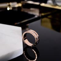 ?韩版时尚镀18K玫瑰金情侣戒指男女款镶钻复古食指环潮人戒子配饰