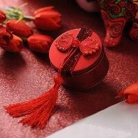 大红喜庆中国风 结婚婚庆用品 马口铁 中 小 喜糖盒子 结婚糖果盒