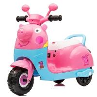 新款儿童摩托车卡通小猪电动三轮车可坐人摩托三轮车男女宝宝玩具车可充电儿童电瓶车