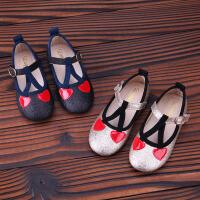 新款女童皮鞋公主鞋儿童豆豆鞋宝宝鞋爱心女童鞋单鞋