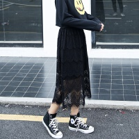 韩版春秋睫毛蕾丝裙半身裙长裙子女夏显瘦文艺复古中长款打底裙子 黑色 均码