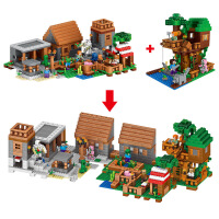 群隆将牌兼容乐高我的世界林外乐园拼装积木桶装儿童玩具33068
