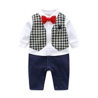 2018春季新款婴儿连体衣 棉质英伦风领结绅士儿童爬服哈衣