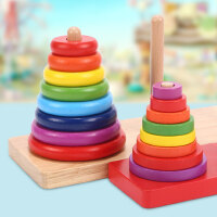童绘梦木质汉诺塔十层小学生早教儿童益智逻辑思维通关玩具河内塔